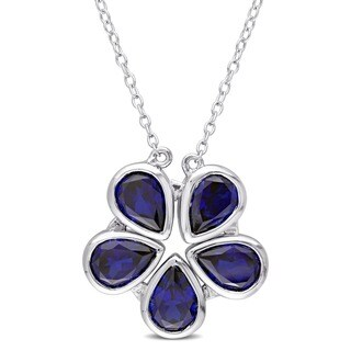 Miadora Sterling Silver Created Blue Sapphire Pear-Shaped Interchangeable Birthstone Flower Necklace