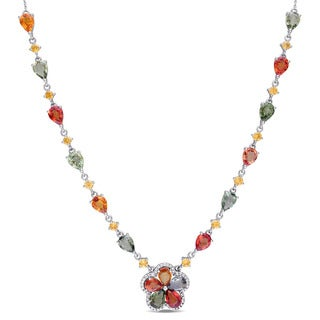 Miadora Signature Collection 14k White Gold Multi-Color Sapphire and 1/5ct TDW Diamond Floral Teardrop Necklace (G-H, SI1-SI2)