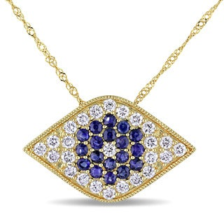 Miadora Signature Collection 14k Yellow Gold Sapphire and 5/8ct TDW Diamond Evil Eye Necklace (G-H, SI1-SI2)