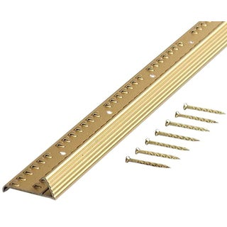 "M-D 79053 1-3/8"" X 36"" Satin Brass Fluted Carpet Gripper"