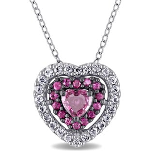 Miadora Signature Collection 14k White Gold with Black Rhodium Pink and White Sapphire Heart Necklace