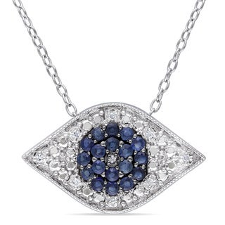 Miadora Sterling Silver Sapphire and Diamond Accent Evil Eye Necklace (G-H, I2-I3)