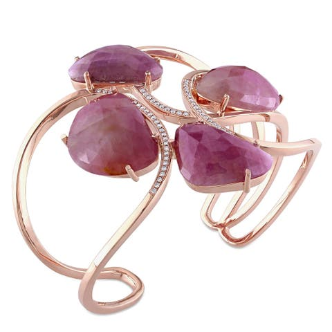 Miadora Signature Collection 14k Rose Gold Pink Sapphire and 3/8ct Diamond Interlaced Cuff Bangle (G-H, SI1-SI2)