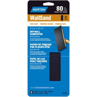 "Norton 03253 4-3/16"" X 11"" 80 Grit Drywall Sandpaper Pack 5-count"