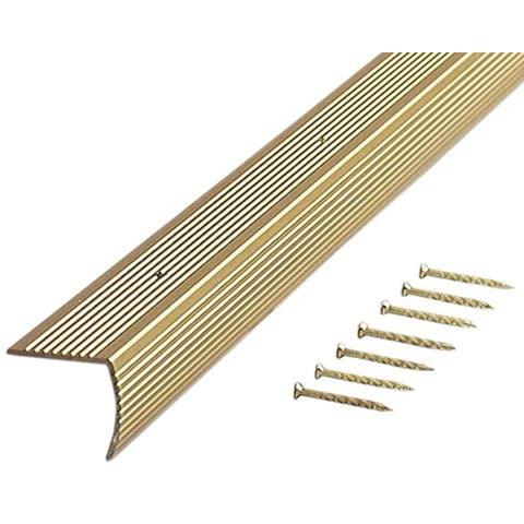 """M-D 79020 36"""" Satin Brass Fluted Stair Edging"""