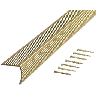 "M-D 79020 36"" Satin Brass Fluted Stair Edging"