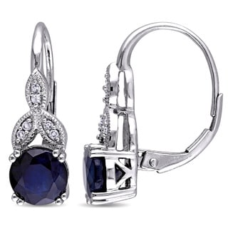 Miadora 10k White Gold Diffused Sapphire and Diamond Accent Vintage Leverback Earrings (G-H, I2-I3)