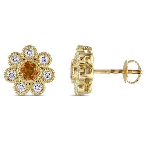 Miadora Signature Collection 14k Yellow Gold Yellow Sapphire and 3/8ct Diamond Flower Stud Earrings (G-H, SI1-SI2)