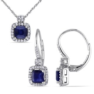 Miadora Signature Collection 10k White Gold Diffused Sapphire 1/3ct TDW Diamond Leverback Earrings and Necklace Set (G-H,I1-I2)