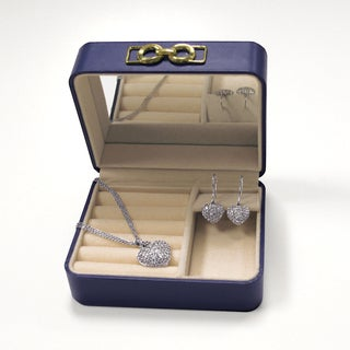 Miadora Sterling Silver Created White Sapphire Heart Earrings and Pendant Set with Blue Jewelry Box