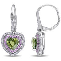 Miadora Signature Collection 10k White Gold Green Pink and White Sapphire Heart-Shaped Halo Leverback Earrings