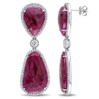 Miadora Signature Collection 14k White Gold Pink and White Sapphire Teardrop Abstract Earrings