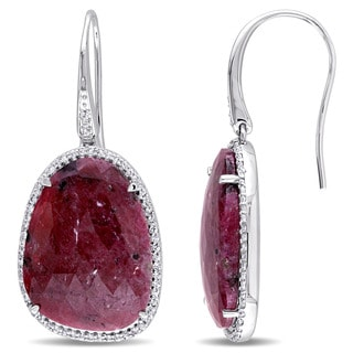 Miadora Signature Collection 14k White Gold Pink and White Sapphire Drop Earrings