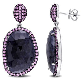Miadora Signature Collection 14k White Gold with Black Rhodium Pink and Blue Sapphire Halo Drop Stud Earrings