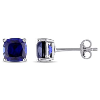 Miadora Sterling Silver Cushion Cut Created Blue Sapphire Stud Earrings