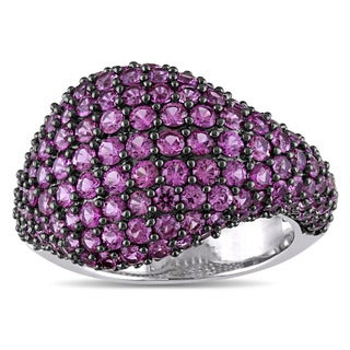 Miadora Signature Collection 14k White Gold Pink Sapphire Dome Cocktail Ring