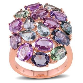 Miadora Signature Collection 14k Rose Gold Multi-Color Sapphire Cocktail Ring