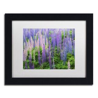 Cora Niele 'Blue Pink Lupine Flower Field' Matted Framed Art