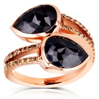 Annello Two Collection 18k Rose Gold 5 7/8ct TDW Black and Champagne Diamond Pear Wrap Over Ring