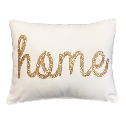 Thro by Marlo Lorenz 'Home' Sequined Feather-filled Throw Pillow