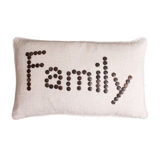 'Family' Coconut Button Feather-filled Throw Pillow