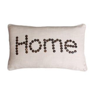 Beige Faux Linen 'Home' 12-inch x 20-inch Throw Pillow