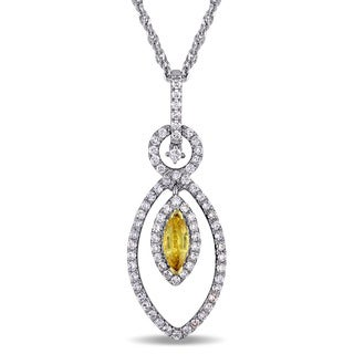Miadora Signature 2-Tone 18k White and Yellow Gold Yellow Sapphire and 3/4ct TDW Diamond Marquise-Shaped Necklace (G-H, SI1-SI2)