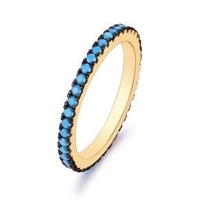 18k Goldplated Genuine Turquoise Single-band Ring
