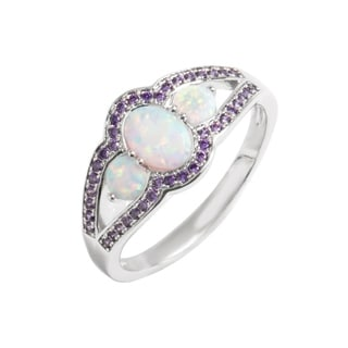 18k White Gold Plated Fire Opal & Amethyst Cubic Zirconia Cocktail Ring