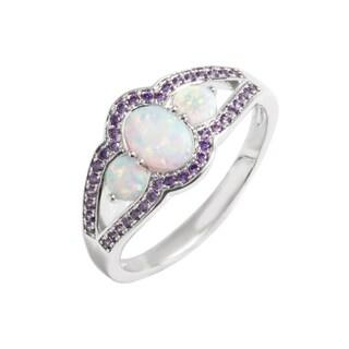 Rhodium Plated Opalescent Stone & Purple Quartz Cocktail Ring