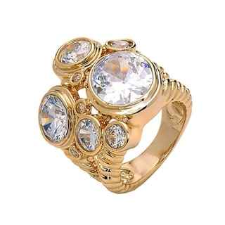 18k Gold Plated Brass Cubic Zirconia Statement Ring