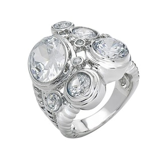 Rhodium Plated Cubic Zirconia Statement Ring