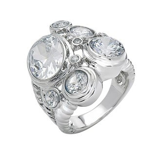 Rhodium Plated Cubic Zirconia Statement Ring - White