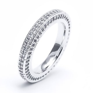 Rhodium Plated Cubic Zirconia Eternity Band White
