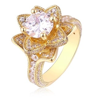 Golden Lotus 18k Goldplated Cubic Zirconia Ring