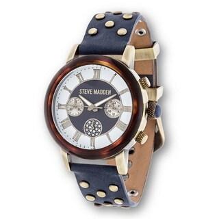 Steve Madden Gold Case Navy Blue Studded Leather Strap Watch