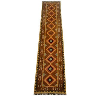 Herat Oriental Afghan Hand-woven Vegetable Dye Wool Kilim Runner (2'9 x 12'9)