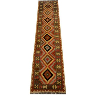 Herat Oriental Afghan Hand-woven Vegetable Dye Wool Kilim Runner (2'11 x 12'5)