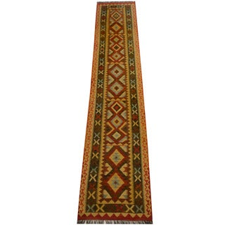 Herat Oriental Afghan Hand-woven Vegetable Dye Wool Kilim Runner (2'7 x 13'5)