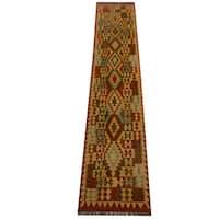 Herat Oriental Afghan Hand-woven Vegetable Dye Wool Kilim Runner (2'7 x 12'9) - 2'7 x 12'9