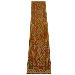 Herat Oriental Afghan Hand-woven Vegetable Dye Wool Kilim Runner (2'8 x 13')
