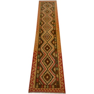 Herat Oriental Afghan Hand-woven Vegetable Dye Wool Kilim Runner (2'1 x 13')