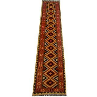 Herat Oriental Afghan Hand-woven Vegetable Dye Wool Kilim Runner (2'9 x 13'4)