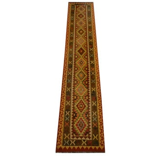 Herat Oriental Afghan Hand-woven Vegetable Dye Wool Kilim Runner (2'6 x 13'4)
