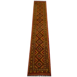 Herat Oriental Afghan Hand-woven Vegetable Dye Wool Kilim Runner (2'5 x 13'2)
