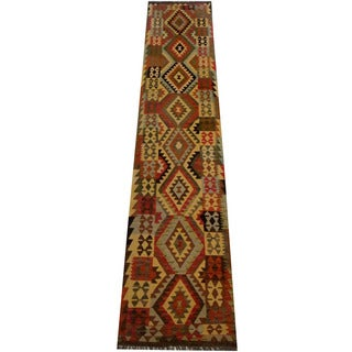 Herat Oriental Afghan Hand-woven Vegetable Dye Wool Kilim Runner (2'7 x 12'1)