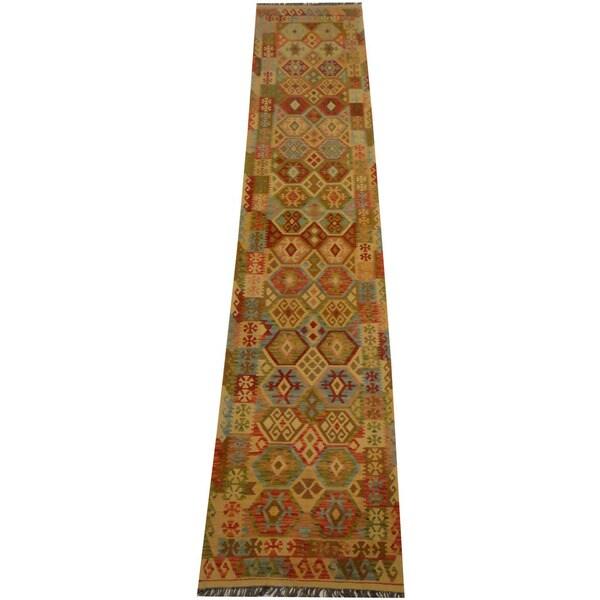 Handmade Herat Oriental Afghan Vegetable Dye Wool Kilim Runner - 2'8 x 13'1 (Afghanistan)
