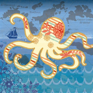 Portfolio Canvas Decor Jennifer Brinley 'Coastal Critters Octopus' Gallery-wrapped Canvas Art Print