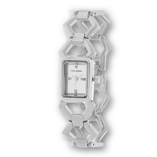 Steve Madden Women's Silvertone Case and Links Alloy Strap Watch