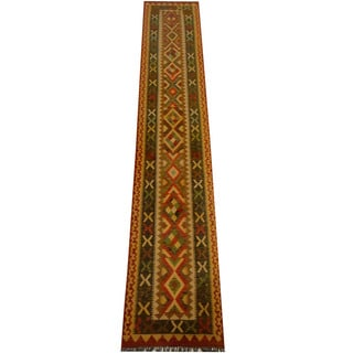 Herat Oriental Afghan Hand-woven Vegetable Dye Wool Kilim Runner (2'5 x 13'7)